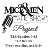 Of Mice and Men post reading character talk show activity