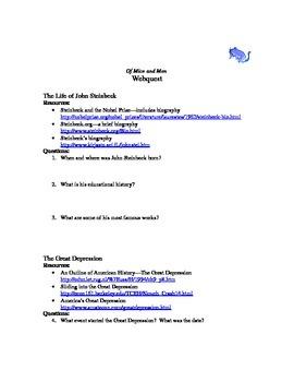 Of Mice and Men webquest