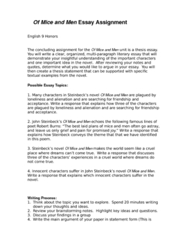 Of Mice of Men Final Essay Assignment