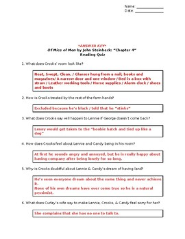 Of Mice of Men (John Steinbeck): Chapter 4 - Reading Quiz