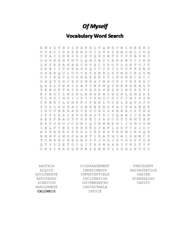 Of Myself Vocabulary Word Search - Cowley
