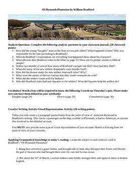 activities for of plymouth plantation  worksheets  tpt  of plymouth plantation   william bradford   creative writing
