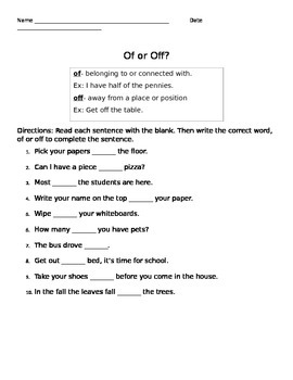 Of or Off?