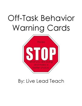 Off-Task Behavior Cards
