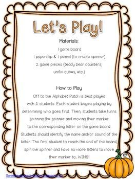 Off To The Alphabet Patch! Alphabet Game