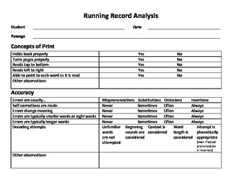 Off and Running with Running Records