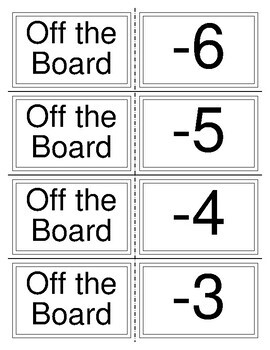Off the Board Integer Addition Game