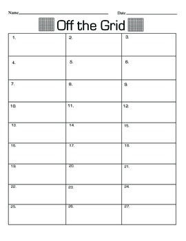 Off the Grid Recording Worksheet