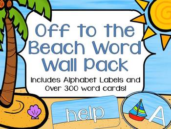 Off to the Beach Word Wall Pack: Alphabet Labels and Word Cards