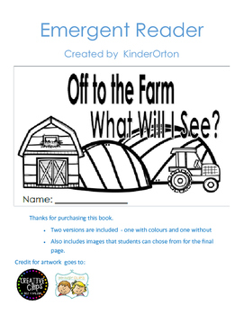 Off to the Farm - emergent reader