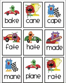 Vowel pattern race car game! Featuring long a & long i! With data collection!