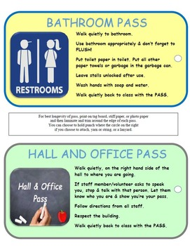 Office, Bathroom, Hall and Library Passes