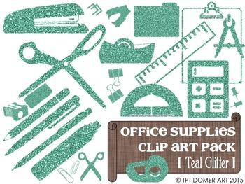 Office & Classroom Supplies Clipart [Teal Glitter]