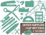 Office & Classroom Supplies Clipart [Teal Glitter]