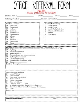 Office (Discipline) Referral Forms