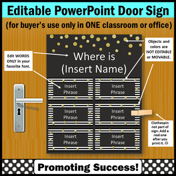 Where are We Door Sign EDITABLE Black White Gold Counselor Office Decor