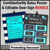 Office Door Sign EDITABLE + Confidentiality Sign BUNDLE Aqua and Navy Decor