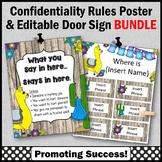 School Counselor Door Sign EDITABLE + Confidentiality Sign BUNDLE Llama Decor