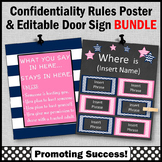 Office Door Sign EDITABLE + Confidentiality Sign BUNDLE Navy and Pink Decor