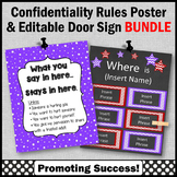 Office Door Sign EDITABLE + Confidentiality Sign BUNDLE Purple and Red Decor