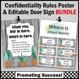 Office Door Sign EDITABLE + Confidentiality Sign BUNDLE Succulents Decor