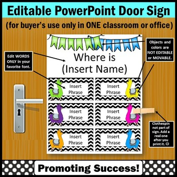Where Are We Door Sign EDITABLE, Llama Classroom Decor, Counselor Door Sign