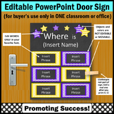 Office Door Sign EDITABLE Purple and Yellow,  Where is the Counselor Sign