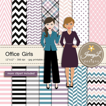 Office Girls Digital papers and clipart SET