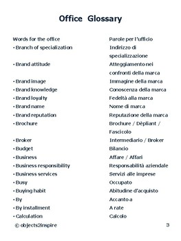 Office Glossary in English and Italian: a list of words related to business