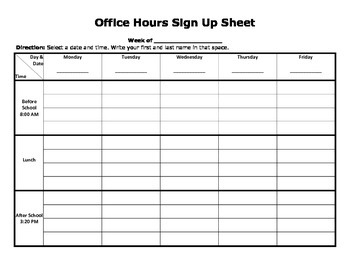 Office Hours Sign U