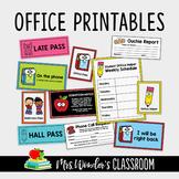 Office Printables, School Secretary Set, Late Slip Pass, Office Helpers Schedule