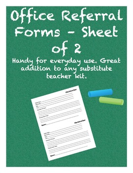 Office Referral Forms - Sheet of 2