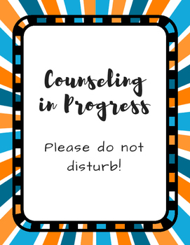 Office Signs - School Counseling Bundle - Blue Orange Sunburst