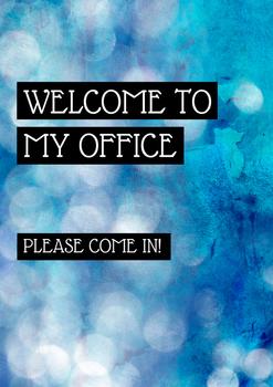 Office Signs - School Counseling Bundle - Blue Bokeh Stone 2