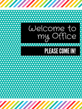 Office Signs - School Counseling Bundle - Teal Rainbow