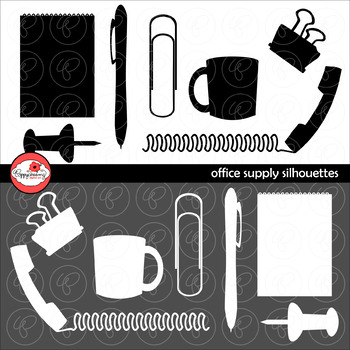 Office Supply Silhouettes Clipart by Poppydreamz