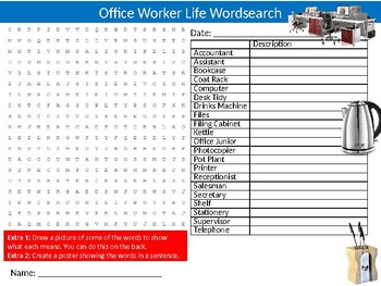 Office Worker Life Wordsearch Sheet Starter Activity Keywords Jobs Careers