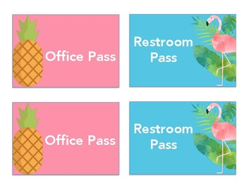 Office and Bathroom pass/flamingo and pineapple theme