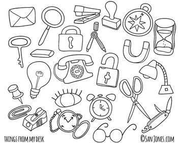 Office and Desk items hand drawn with black/white line art