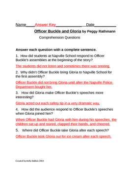 Comprehension Questions for Officer Buckle and Gloria by Peggy Rathmann