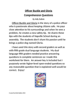 Comprehension Questions for Officer Buckle and Gloria by P