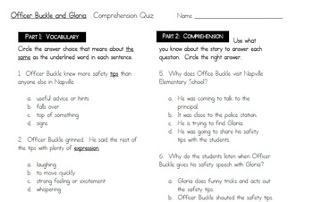 Officer Buckle and Gloria Comprehension Quiz