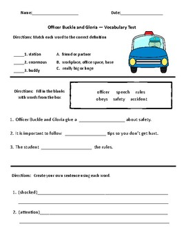 Officer Buckle and Gloria Comprehension & Vocabulart Test