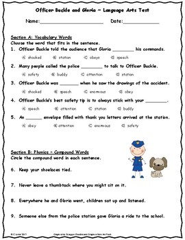 Officer Buckle and Gloria ~ Language Arts Test ~ 2nd Grade ~ HMH Journeys