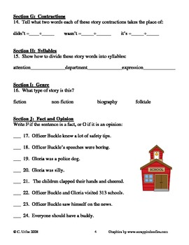 Officer Buckle and Gloria ~ Peggy Rathmann ~ Language Arts Workbook