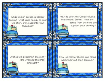 Officer Buckle and Gloria Questioning Cards to use with Post-It Notes!