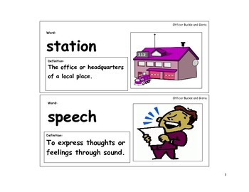 Officer Buckle and Gloria Vocabulary Cards