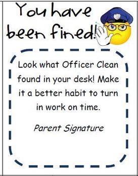 Officer Clean Messy Desk Notice