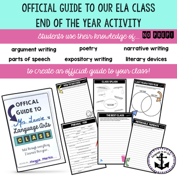 Official Guide to Our ELA Class- End of the Year Activity