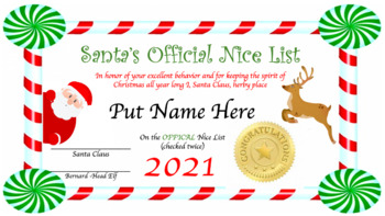 Official Nice List Certificate from Santa